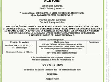 L'obtention des certifications 3834-2 et DESP H1, deux bonnes nouvelles pour ACE !